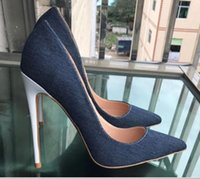 New denim stitching white heel high heel tips sexy shallow o...