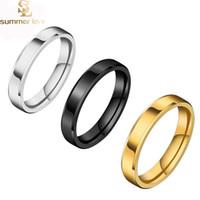 Neue Ankunft 4mm Gold Silber Schwarz Wolfram Edelstahl Ringe für Frauen Männer Einfache glänzende Verlobungsringe Modeschmuck Geschenk