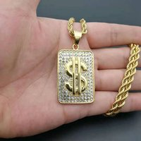 Gold Dollar Sign Shape Pendant Necklace with rhinestone Hip Hop Jewelry For Men Boy Birthday Party Gift Wedding Male Accessories