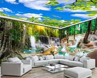 3d Full House Arkaplan Duvar İpek Wallpaper Büyük Şelale Peyzaj Manzara HD Dijital Baskı Nem Duvar Kağıdı