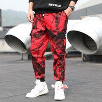 Pantalon de camouflage rouge hommes multi-poche hip hop cargo pantalon de pantalon de survêtement de streetwear coton masculin mode décontracté pantalon de jogger
