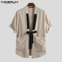 INCERUN 2019 Chinois Style Hommes Chemise Coton Solide Poches Demi Manches Tops Streetwear Vintage Hommes Casual Chemises Kimono Harajuku