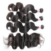 Белла Hair® кружева Закрытие с Связки бразильском Lace Closure (4 * 4) с 3 Связки Natural Color Body Wave 100% человеческих волос Уток Белла волос