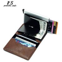 cf597e676 Cartera de calidad superior de los hombres bolsa de dinero Mini monedero  Masculino Automático de aluminio