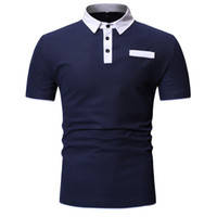 Mens Polos Shirts Summer Casual Short Sleeve T- shirt Contras...