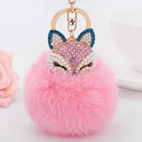En çok satan elmas tilki kafası tavşan kürk tüy yumağı alaşım anahtarlık moda çanta kolye araba Erişimcinin 2020 doğum günü hediyesi Kore versiyonu