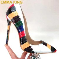 Sexy Multicolor Snakeskin Pumps Pointed Toe Women High Heels...