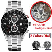 V6F ETA A7750 CAL 1887 Automatic Chronograph Mens Watch Black Tachymeter Bezel Black Detail سوار الفولاذ المقاوم للصدأ أفضل طبعة Puretime G7