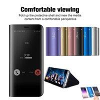Clear view capa phone case para samsung galaxy s9 s8 s10 mais s10e a8 a7 2018 nota 9 8 a50 caso espelho da aleta