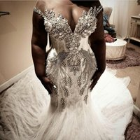 South African Plus Size Mermaid Wedding Dresses 2020 Sheer C...