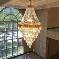 Lambalar Ev İç Aydınlatma Asma LED Modern Kristal Avizeler Işıklar Armatür Amerikan K9 Kristal Avize Hotel Villa Merdiven yolu Büyük