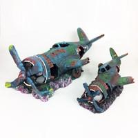 الراتنج الأسماك دبابات زخرفة كهف الحوض الديكور التالفة طائرة مقاتلة الطائرة
