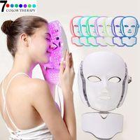 7 اللون أدى ضوء العلاج الوجه آلة الجمال الصمام قناع الرقبة الوجه مع microlurent لجهاز تبييض الجلد dhl شحن مجاني