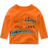 Детская одежда новорожденных девочек с длинным рукавом дизайнер футболки малышей унисекс мультфильм печатных оранжевый хлопок топы оптом