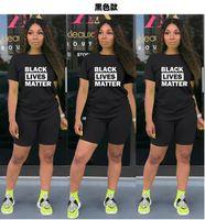 여성 반바지 운동복 블랙 삶 물질 문자 인쇄 두 조각 세트 T 셔츠 + 반바지 의상 여름 스포츠 정장 홈 의류 GGA3503