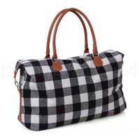Buffalo плед сумка большая емкость путешествия Weekender Tote с PU обрабатывающую Checkered открытый спорт йога сумки для хранения Duffel сумки OA6397