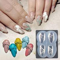 3D Silikon-Nagel-Schnitzen Mold DIY Acryl Schmetterlings-Bogen-Herz-Entwürfe Mold Stamping Schablonen Nails Schablonen Maniküre Werkzeuge