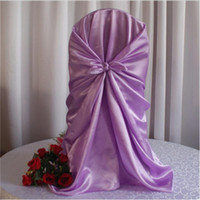 100pcs Voilet Satin Universal Chair Cover , Satin Back Self ...