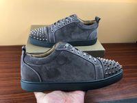 Designer de sapatos de alta qualidade para homem mulheres de baixo corte fundo vermelho Spikes Plano tênis sneaker paris Genuine moda em couro com o tamanho da caixa de 35-47