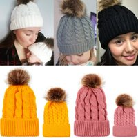 1 pair Warm Cable Knitting Hats Winter Beanie Hats Baby and ...