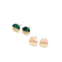Pendientes ZWPON 2019 Nueva semicírculo Natural Artificial piedra redonda para mujeres Pendientes punto geométrico joyas de moda Wholesal