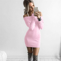 Dew Shoulder Sexy Womens Sweaters Dress Fashion Donna Knit D...