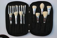 Belleza en vivo totalmente Profesional 19 Unids Set de Cepillos de Maquillaje Silver Chrome Ulta Make Up Eye Face Brush Kit con Estuche