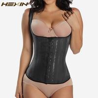 Hexin Preto 4 Linhas Ganchos látex cintura cincher Corpo Shaper aço osso do espartilho Slimming Vest cintura instrutor Plus Size Cinturão BeltT191005