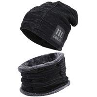 الرجال في الهواء الطلق الشتاء الحياكة قبعة وشاح مجموعة الدافئة كاب الأوشحة الشتاء الملحقات القبعات وشاح 2 أجزاء LJJM2372-2