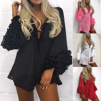 Atacado-Mulheres Sexy Beach Dress Mulheres longo Puff luva Tampa-se Verão Vestido Pareo Swimwear malha Vestido de Verão Túnica Robe