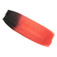 Neue Mode Schwarz Und Rot Farbe Haarverlängerungen Haut Einschlagband In Haarverlängerungen Ombre Jungfrau Brasilianisches Gerade Remy Band In Haar