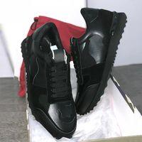 Erkek Rockrunner Kamuflaj ayakkabı moda lüks tasarımcı bayan ayakkabı Gerçek Deri Erkek Kadın Flats gündelik eğitmenler 35-45 sneaker