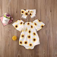 los niños muchachas de la ropa de girasol estampado leopardo de piña romper + Lazo recién nacido del mono de 2020 ropa que sube del bebé del verano Z0982