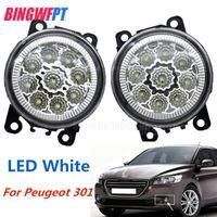 2PCS LED Front Fog Lights For Peugeot 301 2013-2017 Car Styling Round Bumper Halogen fog lamps
