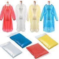 일회용 성인 레인 코트 비상 방수 레인 코트 판쵸 하이킹 캠핑 후드 맑고 투명 까마귀 비옷 한 벌