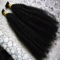 2 pacchi mongolo crespi capelli ricci 200g crespi capelli umani Non umani di trama fasci di capelli ricci afro per intrecciare apparente Nessun attacco