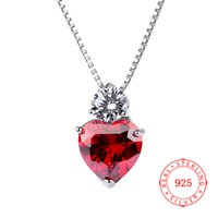 genuine 925 sterling silver red heart pendant red zircon sto...