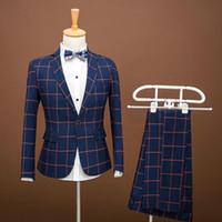 Erkek Fotoğraf Kore Slim Takım Elbise Koyu Mavi Ekose Erkek Kostümleri Ince Suit Erkekler Için Host Giyim