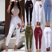 2019 Fashion Women High Waist Emboridered Skinny Stretch Pen...