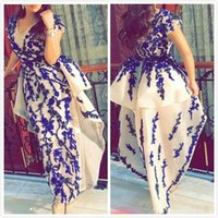 Lace Beaded 2019 Arabic Evening Dresses Cap Sleeves Ankle Le...
