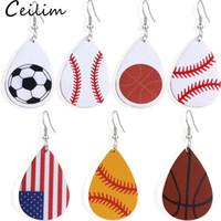 2019 Nouvelle arrivée Teardrop PU cuir Boucles d'oreilles Baseball Basketball Football Volley-ball Sport Dangle Boucles d'oreilles pour femmes Bijoux Cadeaux