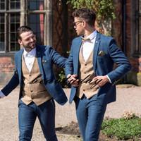 Alta calidad de la lana desgaste novio boda esmoquin Trajes Trajes padrinos de boda formal de la cena vestidos de baile (chaqueta + pantalones + chaleco) Tailor Made B223