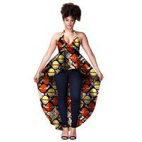 Africano Top For Women Dashiki Camisa longa África Sexy Sling Vestido Imprimir Wax Riche Tribal Tops Batik Femal Plus Size Top WY1358