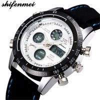 shifenmei S1122 Men Watches Quartz Genuine Leather Strap Dou...