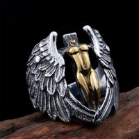 New Cool Style Golden Silver Angel Ring With Wings Mens Fash...