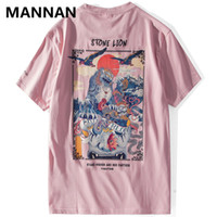 Mannan Chinese Lion stampati Streetwear T-shirt 2019 Mens Harajuku Hip Hop Casual Tops Via Tees maschio Cotton Tshirts