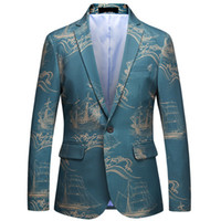 Abiti da uomo Abiti Blazer Tops Wedding Slim Fit Giacche Cappotti Dress da stampa Abito da stampa Formale ACCELLENTE MASCHIO BLAZZINS