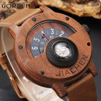 Unico numero bussola giradischi Design Mens uomini orologio in legno marrone in pelle di legno fascia creativa orologi da polso in legno naturale relogio Y19051503