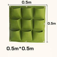 포켓 꽃 냄비 재배자 벽에 매달려 수직 펠트 원예 식물 장식 그린 필드 성장 컨테이너 가방 야외 9pcs