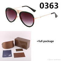 Yeni Kaplan Kafası Marka 0363 Güneş Gözlüğü Arı Moda Retro Güneş Gözlükleri UV400 Yeşil Kırmızı Klasik Gözlük 6 Renk Tam Paket